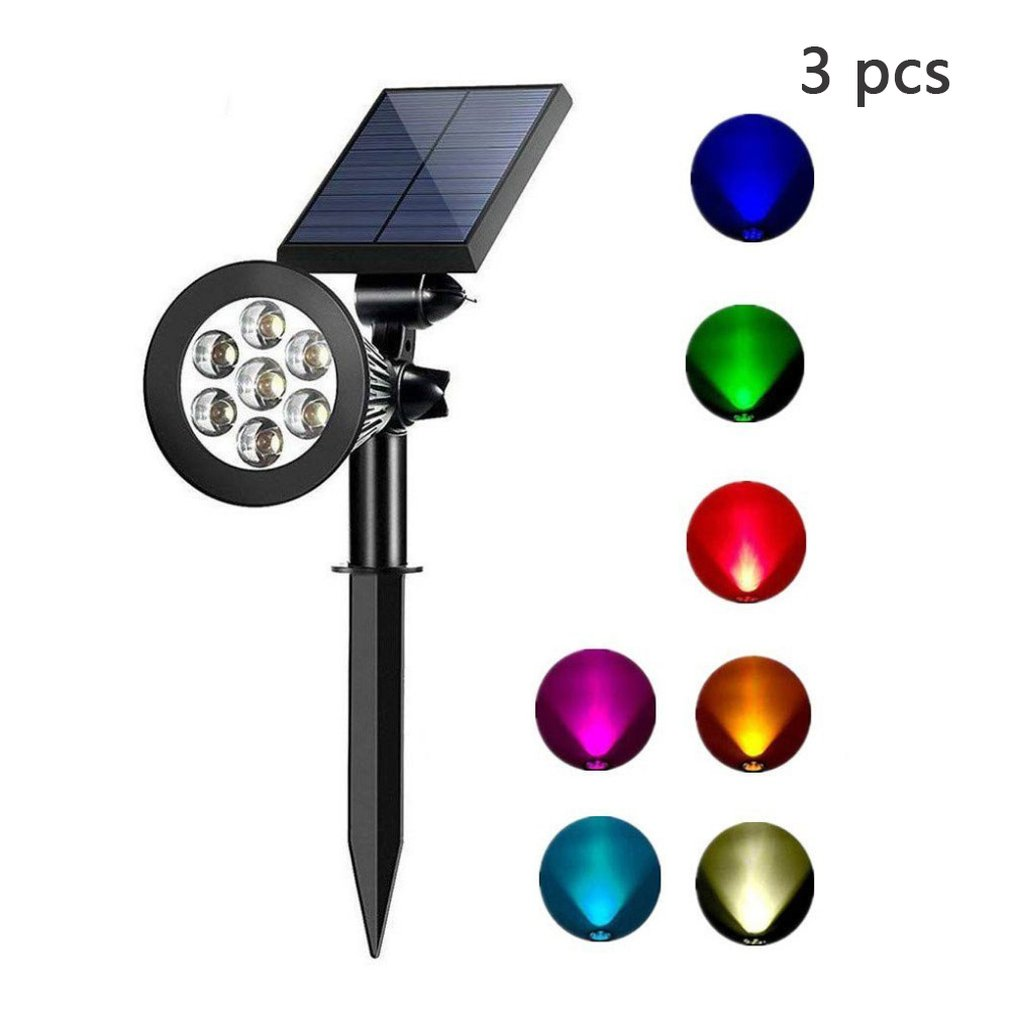 Solar Spotlights Adjustable Color-Changing Waterproof Garden Lawn Lamp Landscape  Spot   Lights Porch  Light