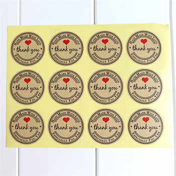 HOT!2020 Party Supplies Thank You Red Love Self-adhesive Stickers Kraft Label Gifts Custom Round Labels Paper Bag 12 PCS/Sheet image