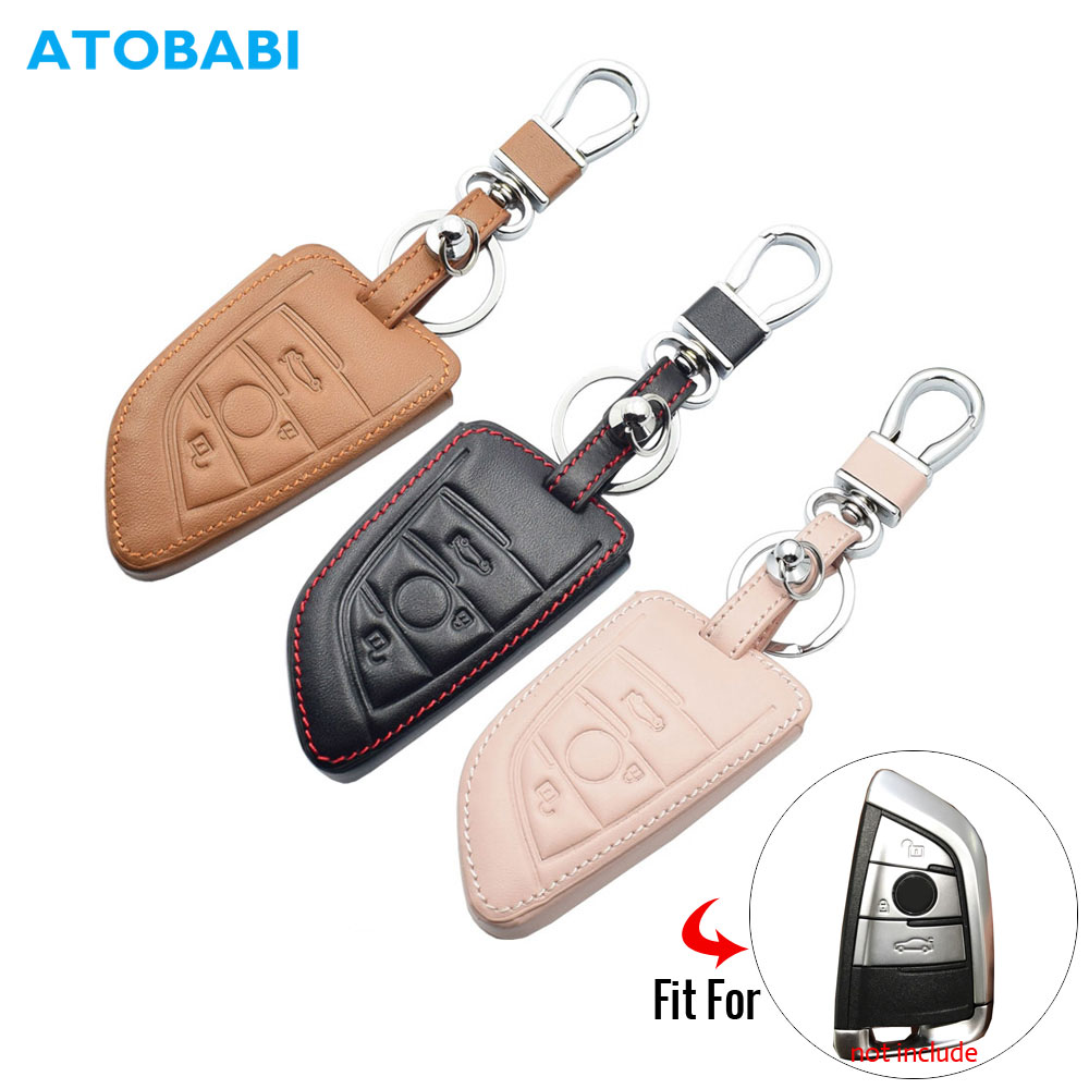 Leather Car Key Cover For BMW X1 X5 X6  F15 F16 F48 1 2 Series Auto Smart Remote Control Fob Case Keychain Holder Protector Bag