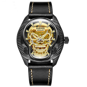 Image 1 - Marca de luxo parnis commander série luminosa caixa de aço masculino pulseira de couro automático auto vento relógio de pulso mecânico
