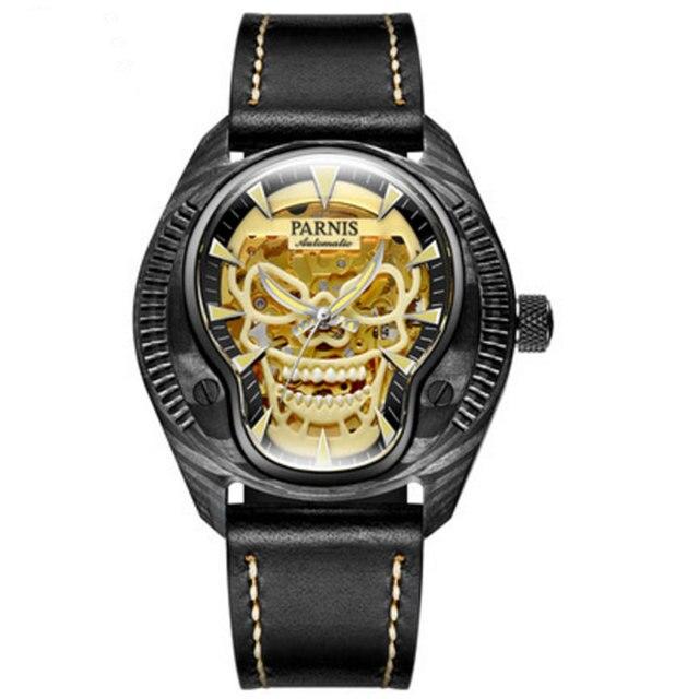 Parnis Commander Reloj de pulsera mecánico automático de cuerda automática para hombre, con funda de acero luminosa, de marca de lujo