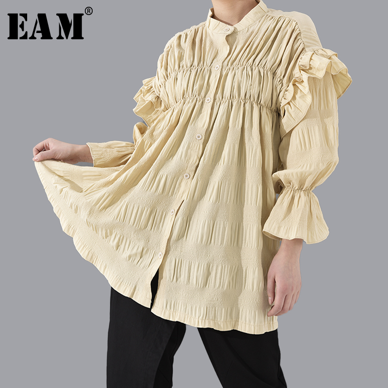 [EAM] Women Pleated Ruffles Split Joint Temperament Dress New Stand CollarLong Sleeve Loose Fit Fashion Spring Autumn 2020 1T801