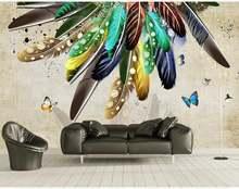 Пользовательские Большие Настенные обои модные цветные перья