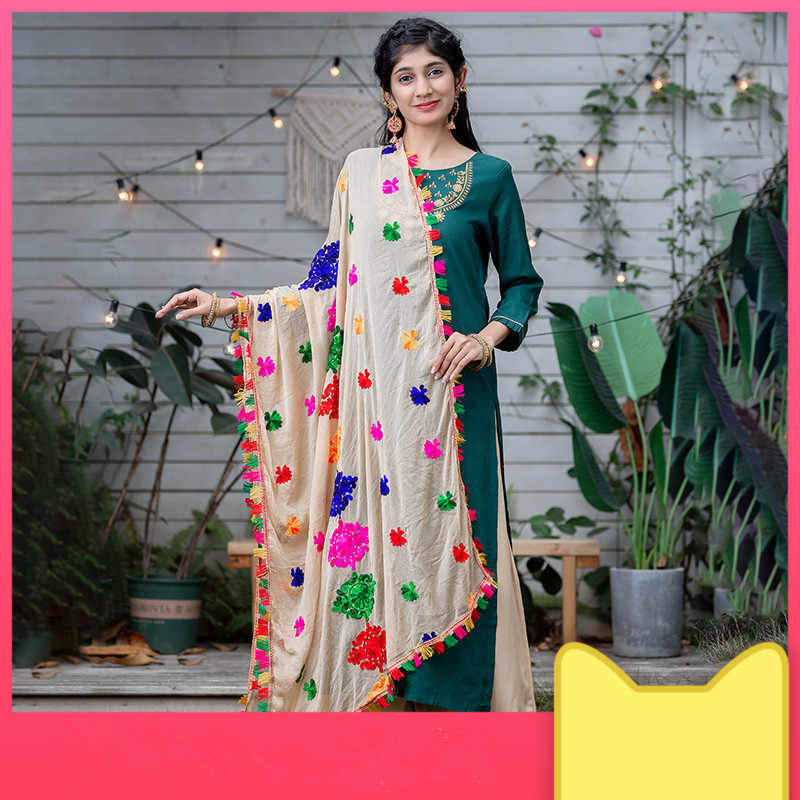 2020 India Etnische Stijlen Lady Embroideried Saree Chiffon Shawl Mooie Grote Multicolour Hijab Comfortabele Vrouw Hijab Sjaal