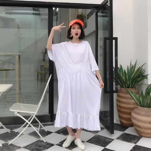 XITAO Pleated Plus Size Dress Fashion Pullover Goddess Fan 2020 Summer Goddess Fan Minority Casual Style Loose Dress GCC3517 6