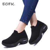 Eofk moda primavera outono feminino sapatos de plataforma mulher senhora apartamentos casual fundo grosso preto sapatos meia deslizamento em sapatos de dança