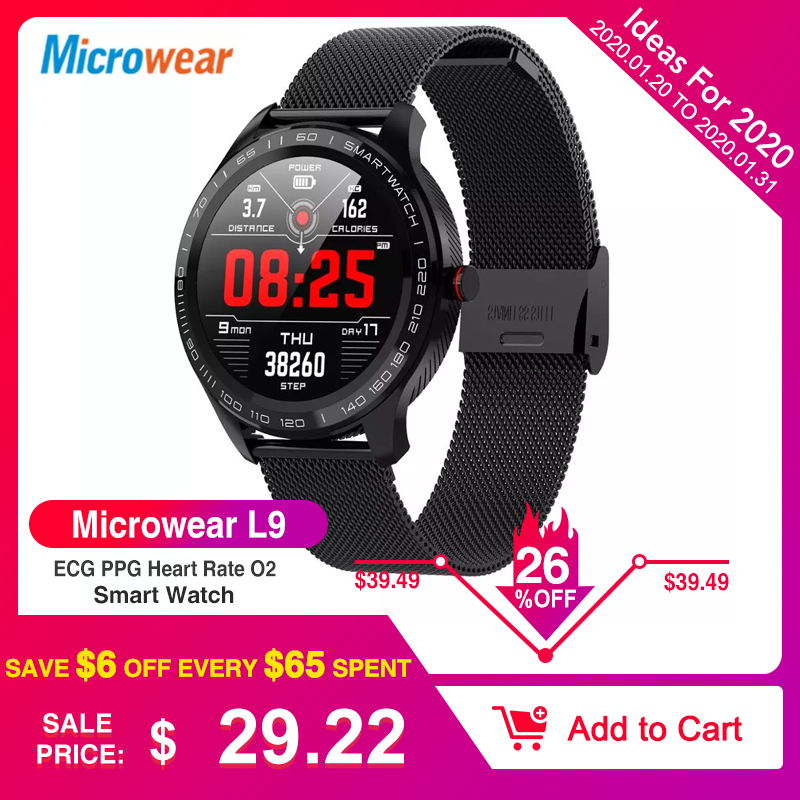 Microwear L9 ECG PPG Heart Rate O2 Monitor Full <font><b>Round</b></font> Touch Screen Stainless Steel IP68 Facebook <font><b>Display</b></font> Business <font><b>Smart</b></font> <font><b>Watch</b></font> image