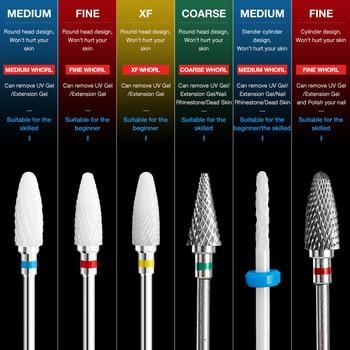 Dmoley Ceramic Tungsten Nail Drill Bit Electric Manicure Drills For Machine Milling Cutter Nail Burr Pedicure Accessories Tools