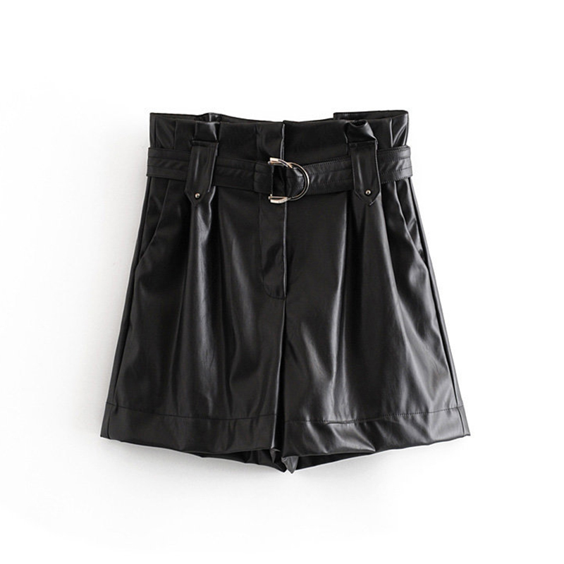 2019 Pu Leather Shorts Women High Waist Black Short With Belt Autumn Winter Female Faux Leather Pleated Mini Short Pants