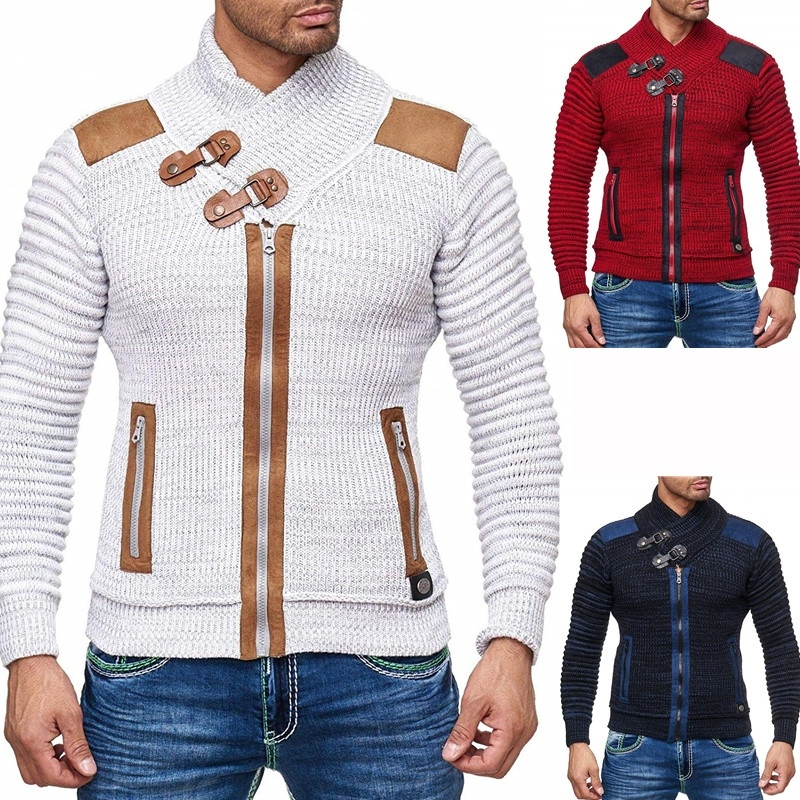 ZOGAA 2019 Autumn Winter Brand Sweater Cardigan Men Casual Slim Sweaters Male Warm Thick Hedging Turtleneck Sweater Men S-3XL