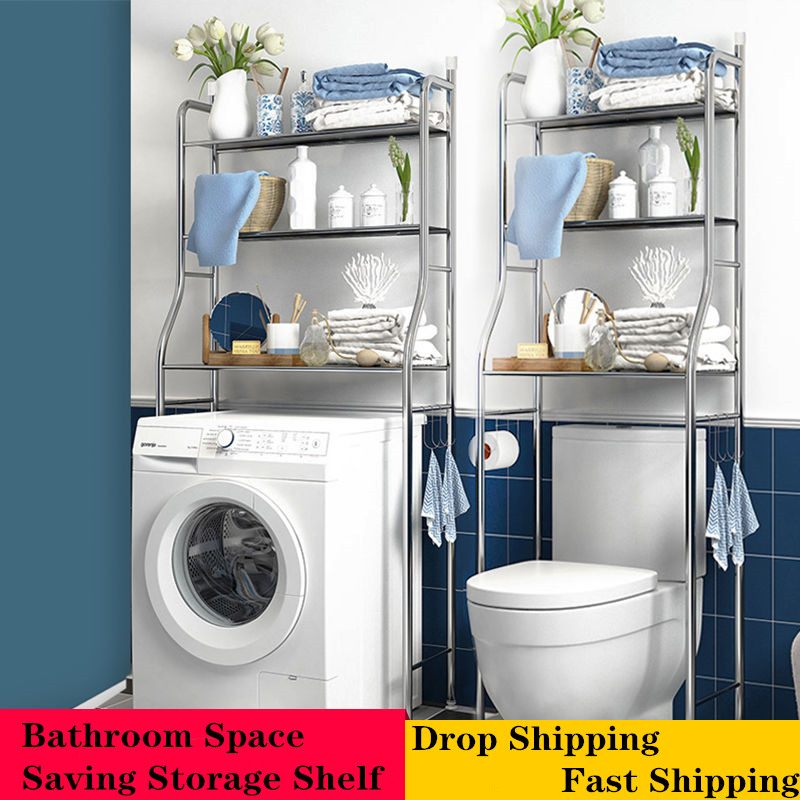 Bathroom Storage Rack Over Toilet Cabinet Shelving Towel Shelf Washing Machine Shelf Washroom Space Saver Shelf Organizer Holder