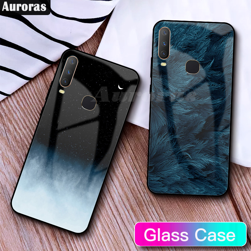 Auroras For <font><b>VIVO</b></font> Y12 <font><b>Case</b></font> Tempered Glass Full Cover Starry Sky Design Feather Funda For <font><b>Vivo</b></font> Y15 <font><b>Y17</b></font> Funda Coque image