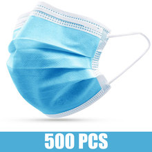 500 / 400 / 300 / 200 Pcs Disposable Anti-pollution Face Mask Non-woven Fabric Facial Mask 3 Layers Filter Personal Mouth Masks