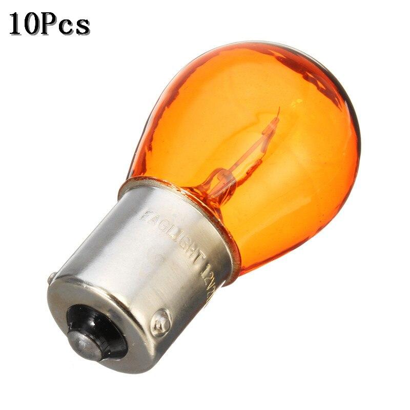 10 шт./компл. 1156 BAU15S PY21W фонарь заднего хода тормоза парковочная лампа желтого янтарного цвета галогенная лампа 12 В постоянного тока светодио...