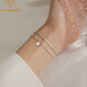 XIYANIKE 925 Sterling Silver 2020 New Double Layer Lucky Round Brand Bracelet Simple Fashion Elegant Unique Gift Women Браслет