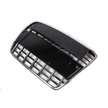 A6 Modified S6 Style Chrome Frame Black Front Hood Center Grille Grill for Audi A6 S6 RS6 2005 2006 2007 2008 2009 2010 2011