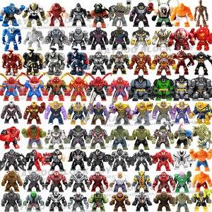 Large Big Figures Building Block Super Hero Thanos Hulk Iron Spider man Hulk Batman Black Panther Croc Bane Venom Toys For Kids(China)