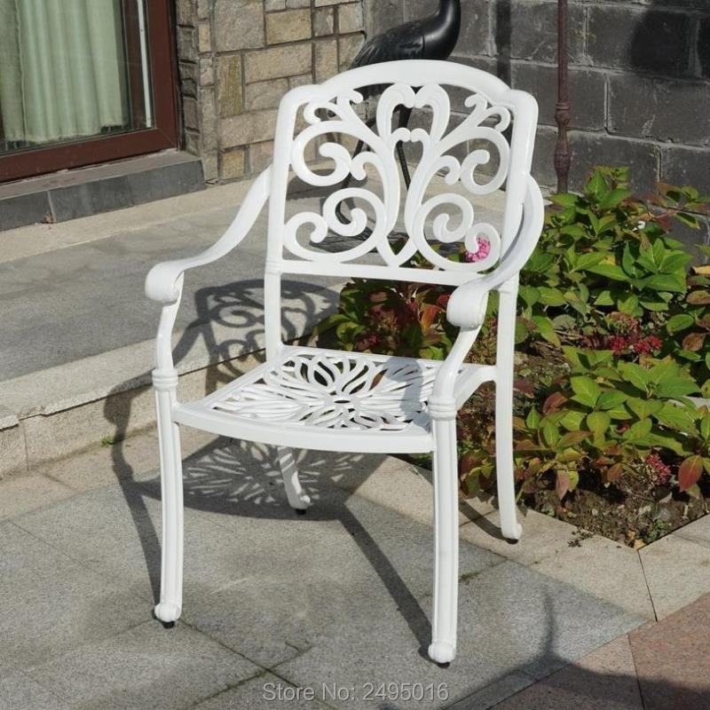 4-piece Cast Aluminum Patio Furniture Dining Chair With Water Resistant  Cushion For Garden Backyard Poolside