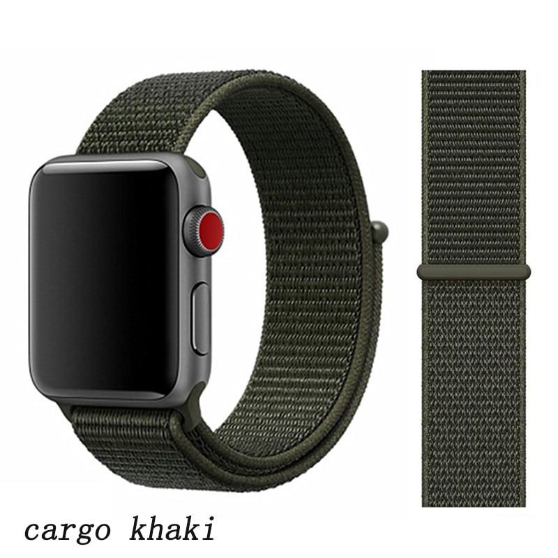 Спортивная петля ремешок apple watch band 42 мм 38 мм apple watch 4 3 band iwatch band 44 мм 40 мм correa pulseira 42 44 нейлоновый ремешок для часов - Цвет ремешка: cargo khaki 17