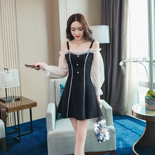 Spring and summer new style Korean version of the word collar dress Mesh sexy strapless