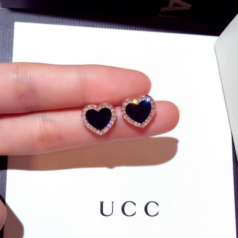 Cute Korean Earrings Heart Bling Zircon Stone Rose Gold Stud Earrings For Women Fashion Jewelry 2019 New Gift