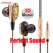 Dual Drivers Bass Sound Earphone smartphone In-Ear Sport Earphones with mic for Samsung Galaxy Grand Prime G530F iphone xiaomi(China)