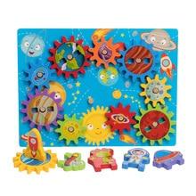 Montessori Children wooden Alarm clock Gear Busy Board Accessories Kindergarten Baby Early Educational Activity Board Game Toys