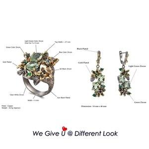 Image 5 - Dreamcarnaval 1989 féminin superbe vert Zircon boucle doreille anneaux ensemble de fiançailles fête bijou accrocheur Olivine fleur ER3874S2