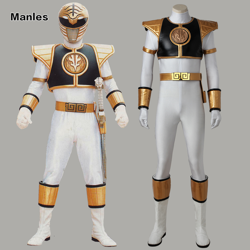 White Ranger Tommy Cosplay Tyranno Ranger Tommy Costume Zyuranger Mighty Morphin Uniform Halloween Outfit Jumpsuit Boots Adult