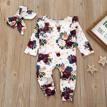 # 5 Baby Girl Clothes Set Newborn Infant Baby Girls Flower Print Romper Hairband Jumpsuit Outfits  Infant New Born Clothing