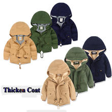 2020 Coat Warm Boys Outerwear Jackets Coat Girls Clothing Hooded Clothes Autumn Winter Thicken Toddler Boys Warm Coat Clothes cheap Solid Fashion Regular Cotton Outerwear Coats Full Fits true to size take your normal size NTYRS7A Worsted Trench Winter Autumn