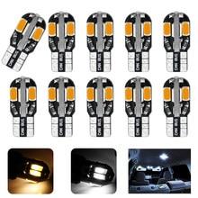 10 T10 Pçs/lote T10 Led Car Interior Bulb Canbus Livre de Erros Branco 5730 DC12V 8SMD LED Car Side Wedge Luz Branca/Warm White Lamp