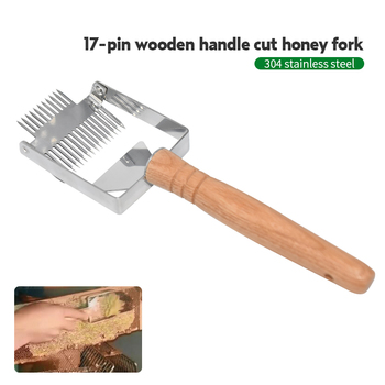 Stainless Steel Bee Hive Uncapping Fork Scraper Shovel 2 In 1 Honey Comb Double Needle Beekeeping Tools for Beekeeper stainless steel bee hive uncapping honey fork scraper shovel beekeeping tool hot sale