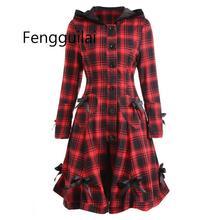 Autumn Winter Gothic Trench Coat Vintage Red Black Plaid Plus Size Back Bandage