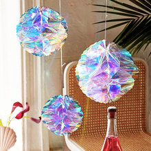 3pcs Film Glowing Honeycomb Ball DIY Color Christmas New Year Shop Window Homes Hanging Decor Supplies Rainbow Party Decoration