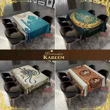 Muçulmano ramadan toalha de mesa impermeável e à prova de mancha eid impressão capa de mesa decoração da cozinha casa 150x15 0/180x140cm