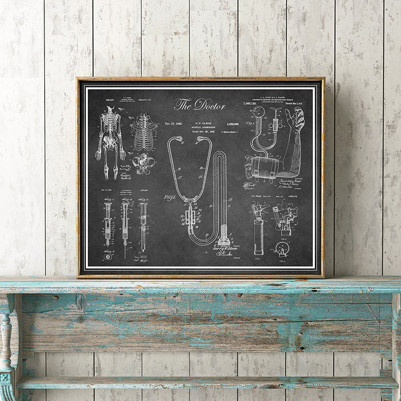 Canvas Print Stethoscope Painting Wall Art Skeleton Posters Modular Cuadros Patent Home Decor Retro Picture Living Room Frame Painting Calligraphy Aliexpress