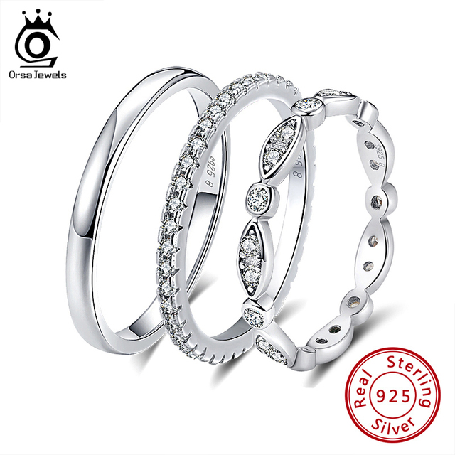 خواتم ORSA جواهر 925 من الفضة الإسترليني للنساء خاتم كلاسيكي مستدير كامل الممهدة بمكعب من الزركون AAA خاتم خطوبة زفاف للبنات SR63