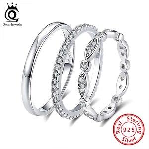 Image 1 - ORSA JEWELS 925 srebro pierścionki kobiety klasyczne okrągłe pełne Pave AAA sześcienne cyrkon obrączka pierścionek zaręczynowy dla dziewczyn SR63