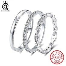 ORSA JEWELS anillo de compromiso de circonia cúbica AAA para mujer, sortija redonda clásica, 925 anillos de plata esterlina, para niña, SR63