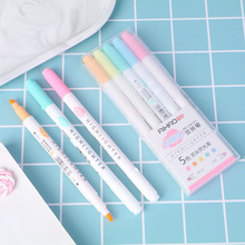 5pcs Dual-side Writing color highlighter marker pen Mild colors Bold Fine spot liner Stationery Office School supplies A6715