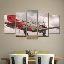 AAHH Big Size 5 Panel Canvas Painting Red Fighter Picture Print on Wall Art for Living Room Home Decor With Frame