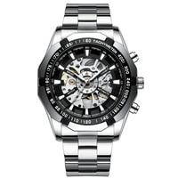 Brand Design Men Sports Watch Stainless Steel Casual Wristwatch Skeleton Automatic Mechanical Male erkek kol saati