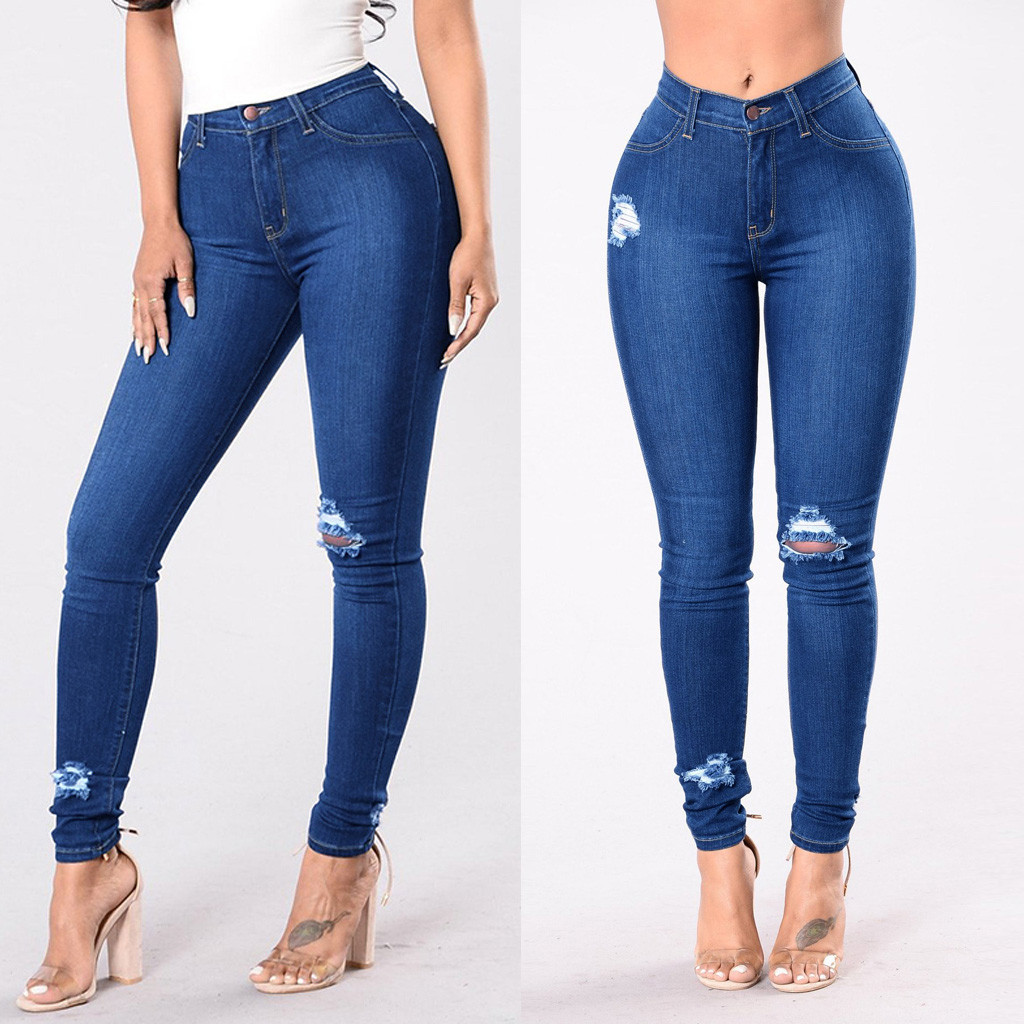 Celana Jeans Wanita Pinggang Sedang Kantong Lubang Denim Skinny Jeans Panjang Pinggang Tengah Stretch Slim Seksi Celana Pensil Yl10 Celana Jeans Aliexpress