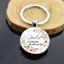 Religious Jewelry Bible Verse Double Side Glass Cabochon Keychain Jesus God Pendant Keyring Women Men Christian Gifts(China)