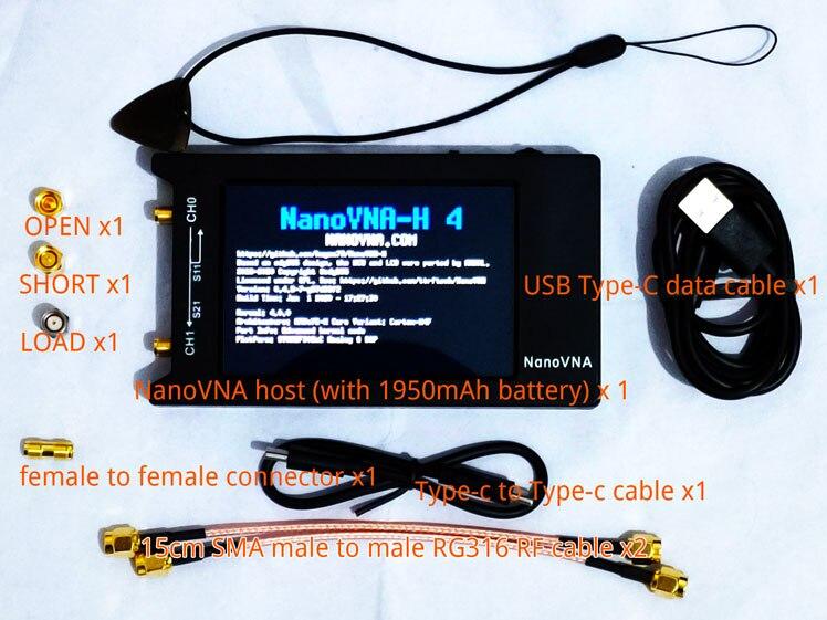 NanoVNA-H4 H 4 pouces LCD/VNA analyseur de réseau vectoriel + 1950mAh batterie originale Hugen écran tactile HF VHF UHF analyseur d'antenne + boîte