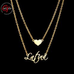 Goxijite Customize 2 Layer Heart Name Necklace For Women Personalized Gold Stainless Steel Custom Name Jewelry Engagement Gift