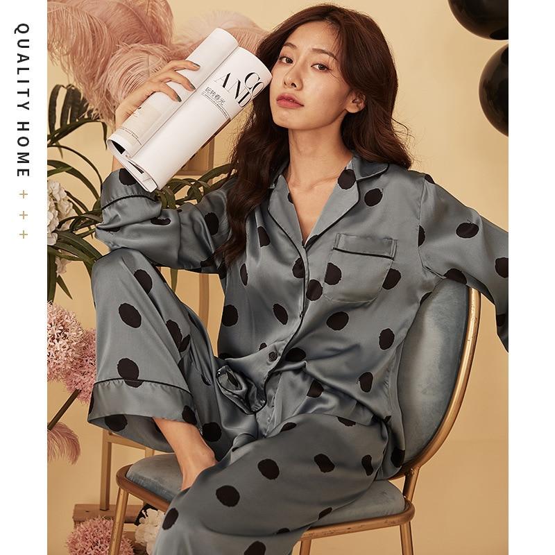 New Autumn Women Silk Satin Printing Pajamas Set Dot Long Sleeved Shirt and Trousers Home Service Suit Satin Pajamas for Women