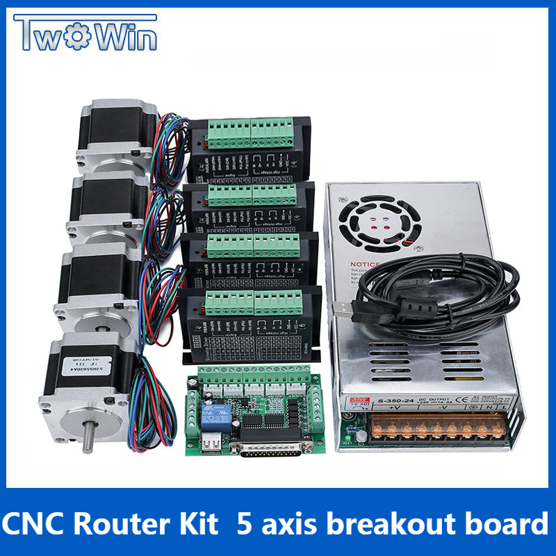4 axes/3 Axes CNC Routeur Kit 4 pièces TB6600 4A pilote de moteur pas à pas + Nema23 Moteur 57HS5630A4 + 5 Axes carte D'interface + Alimentation