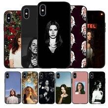 Sexy cantante modelo Lana Del Rey negro de silicona TPU estuche para teléfono suave para iPhone 11 12 Pro X XR XS MAX 5 5 5 6 6 7 8 Plus SE 2020